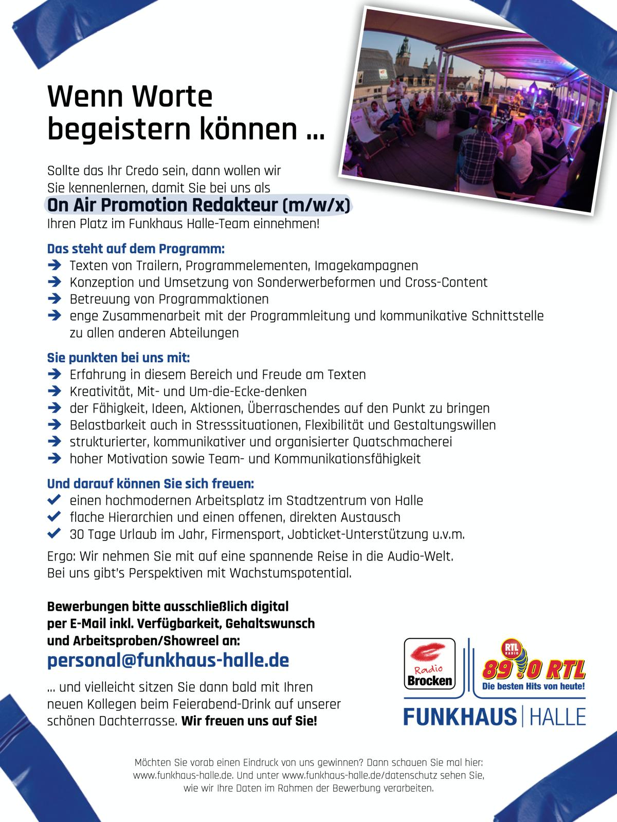Funkhaus Halle sucht On Air Promotion Redakteur (m/w/x)