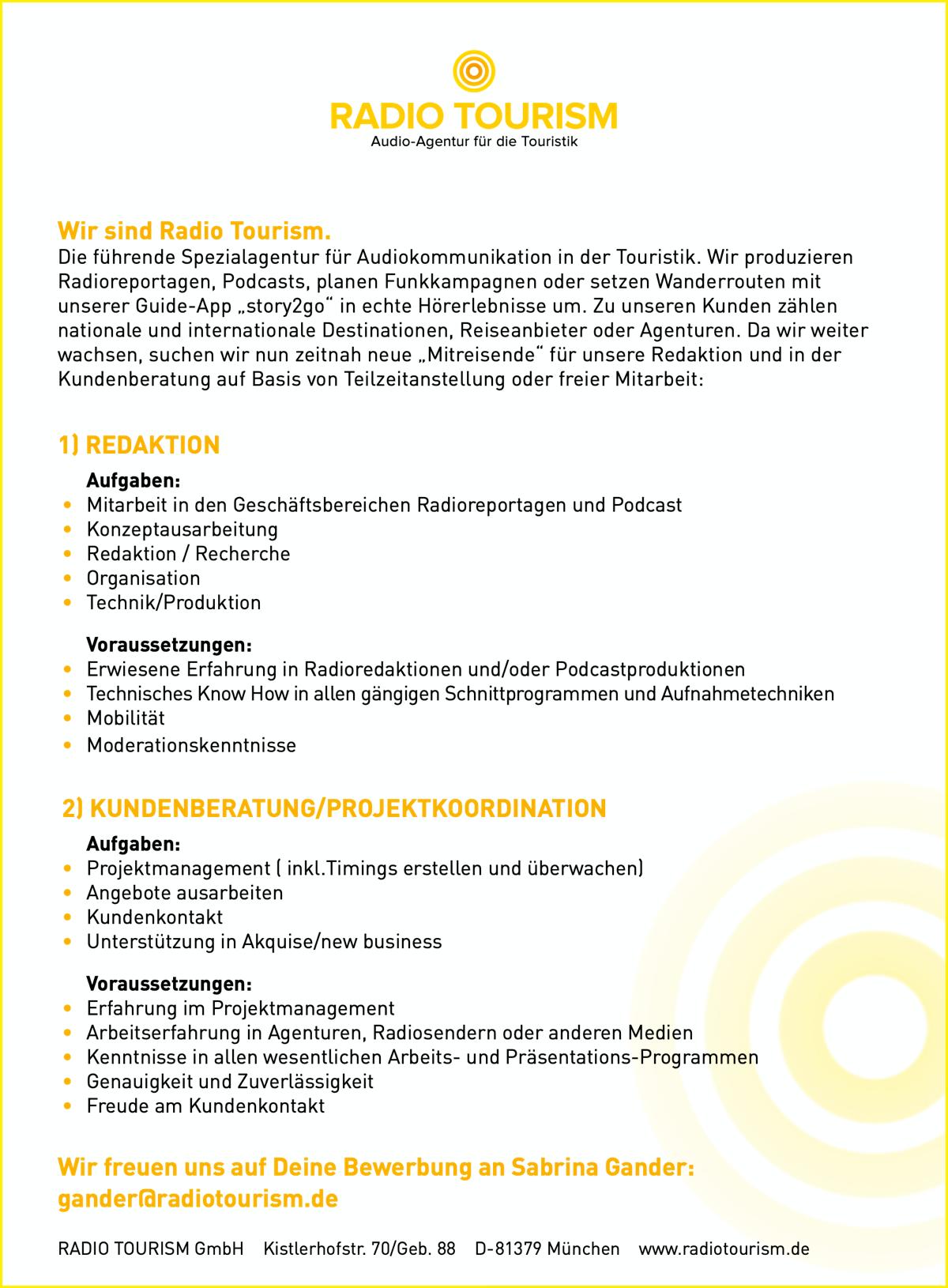 RADIO TOURISM bietet freie Mitarbeit in Redaktion und Kundenberatung/Projektkoordination