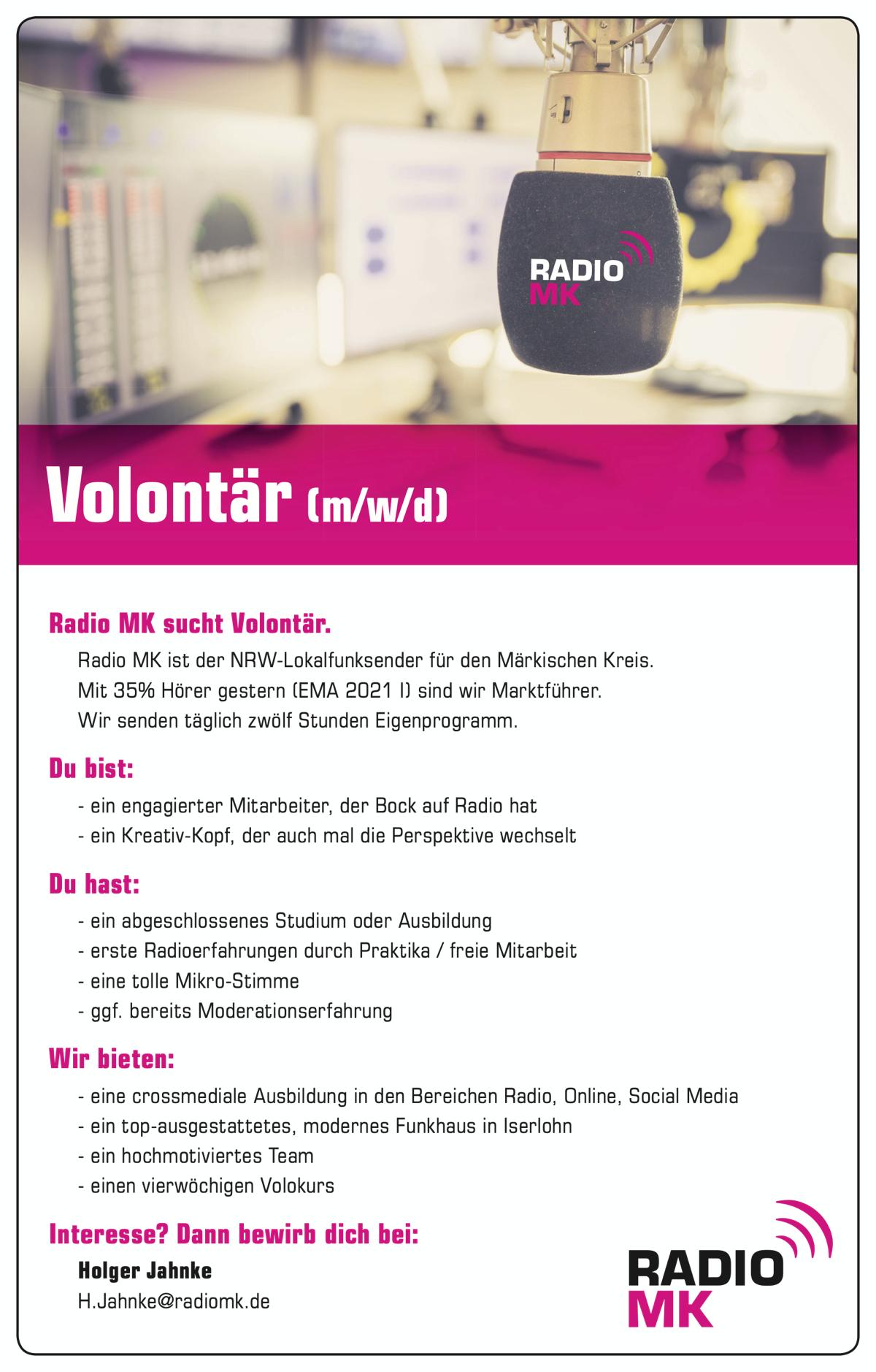 Radio MK sucht Volontär (m/w/d)