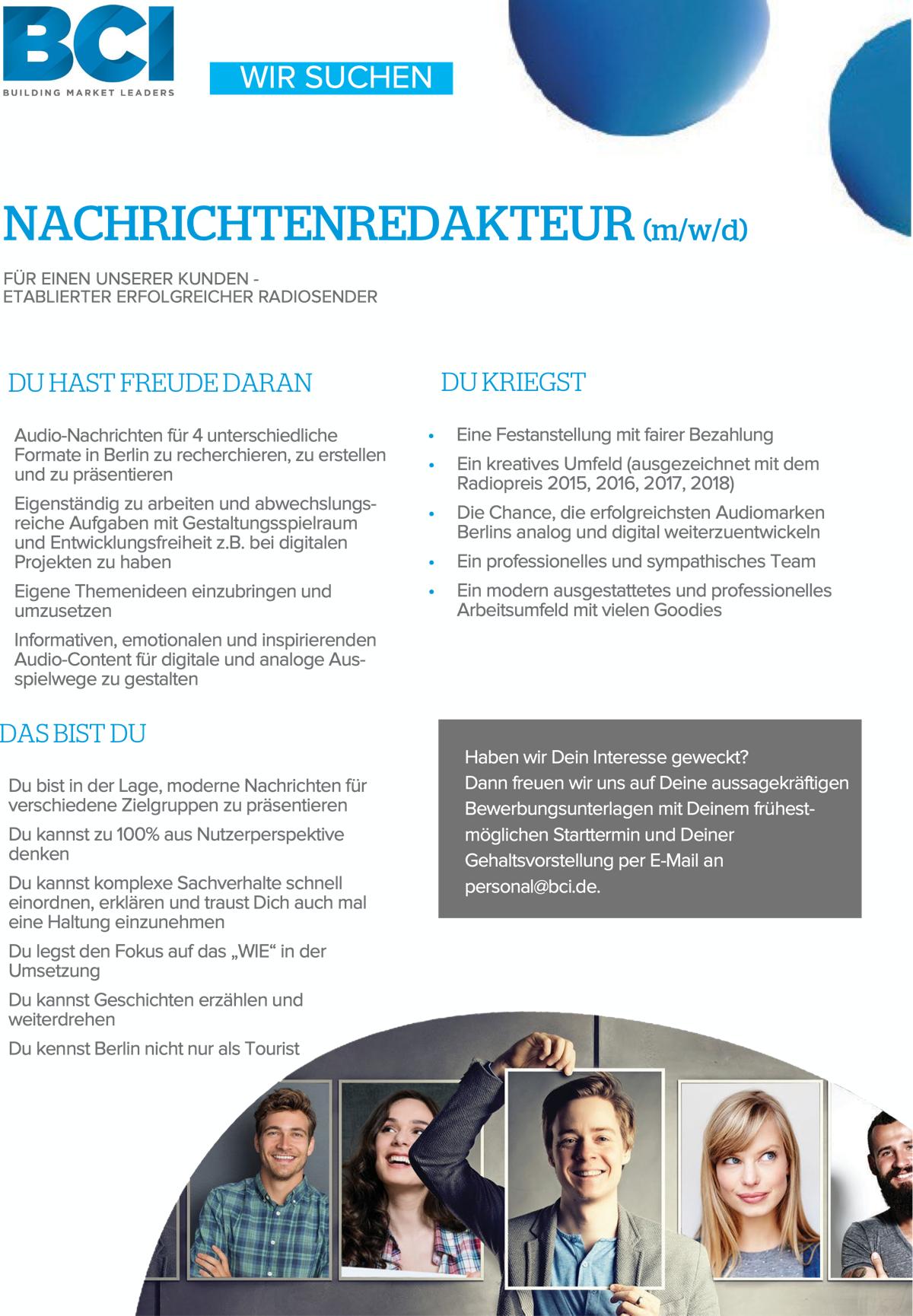 BCI sucht Nachrichtenredakteur (m/w/d)