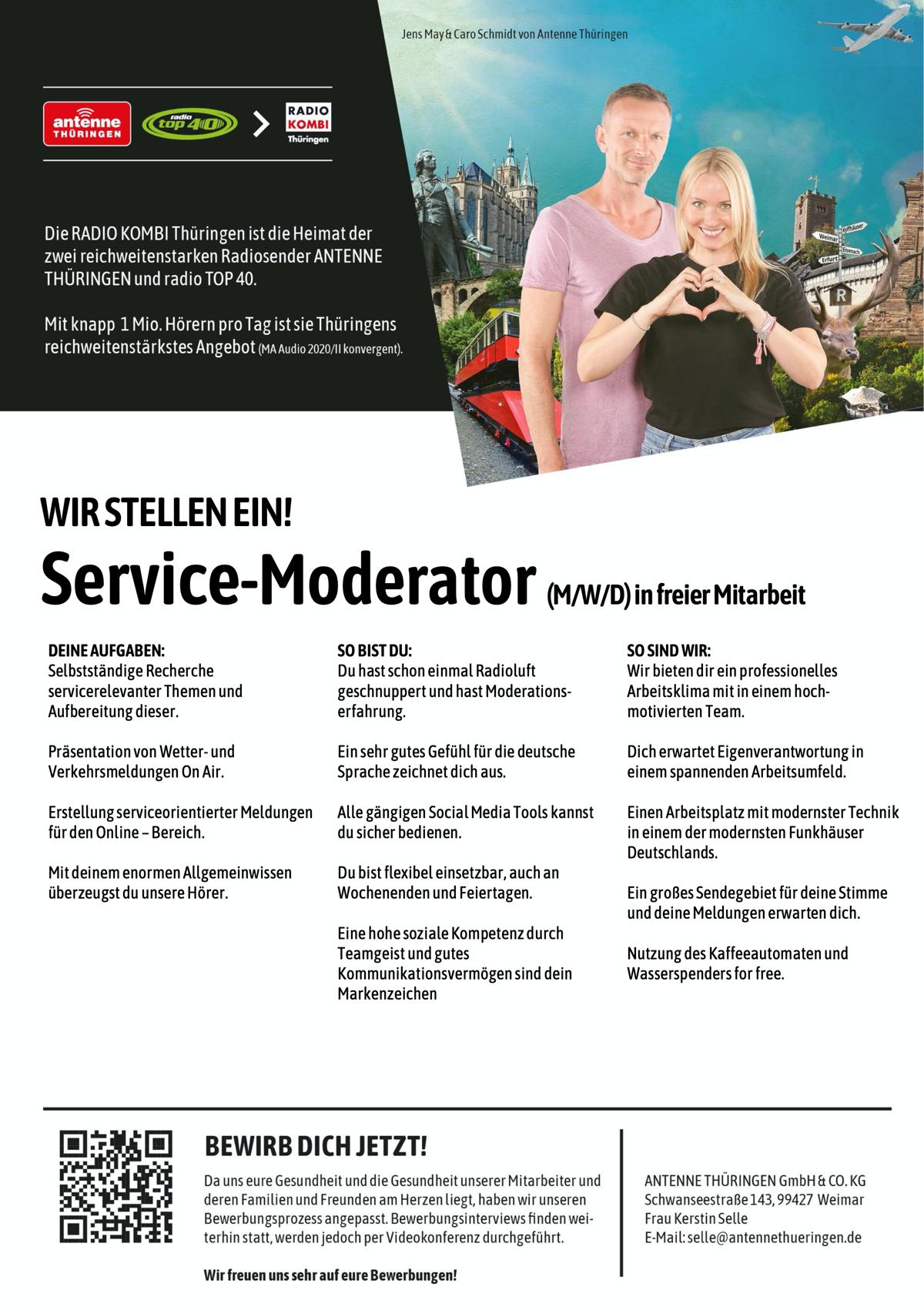 ANTENNE THÜRINGEN sucht Service-Moderator (m/w(d) in freier Mitarbeit