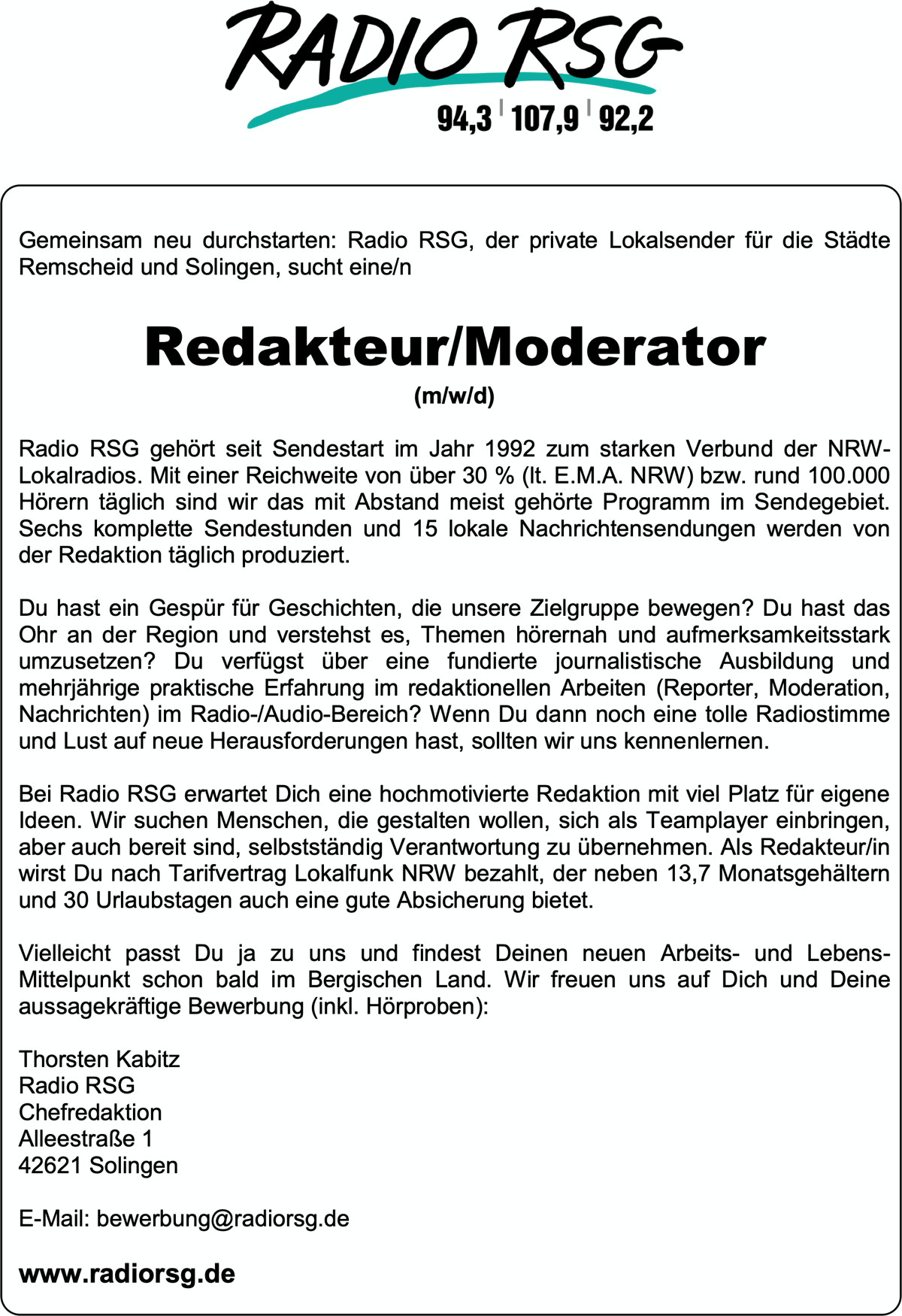 Radio RSG sucht Redakteur/Moderator (m/w/d)