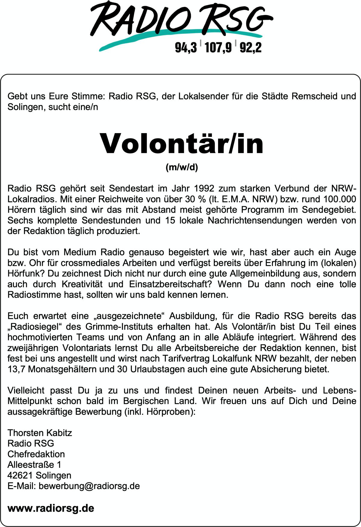 Radio RSG sucht Volontär/in (m/w/d)