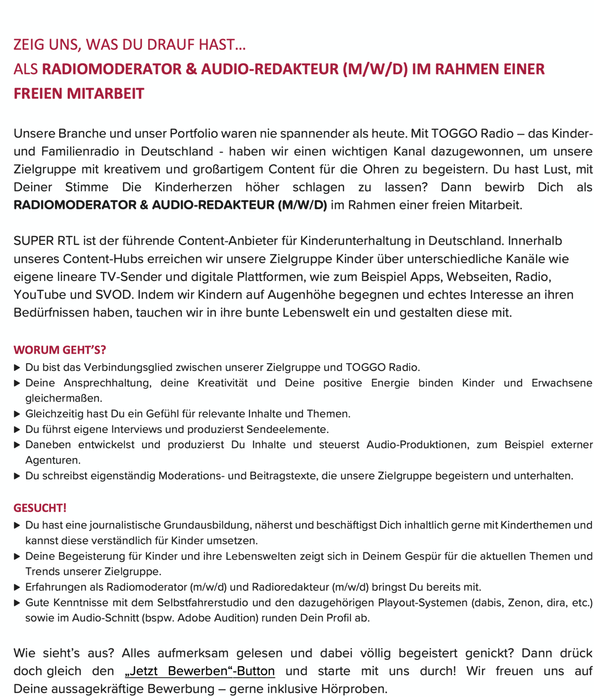TOGGO Radio sucht Radiomoderator & Audio-Redakteur (m/w/d)