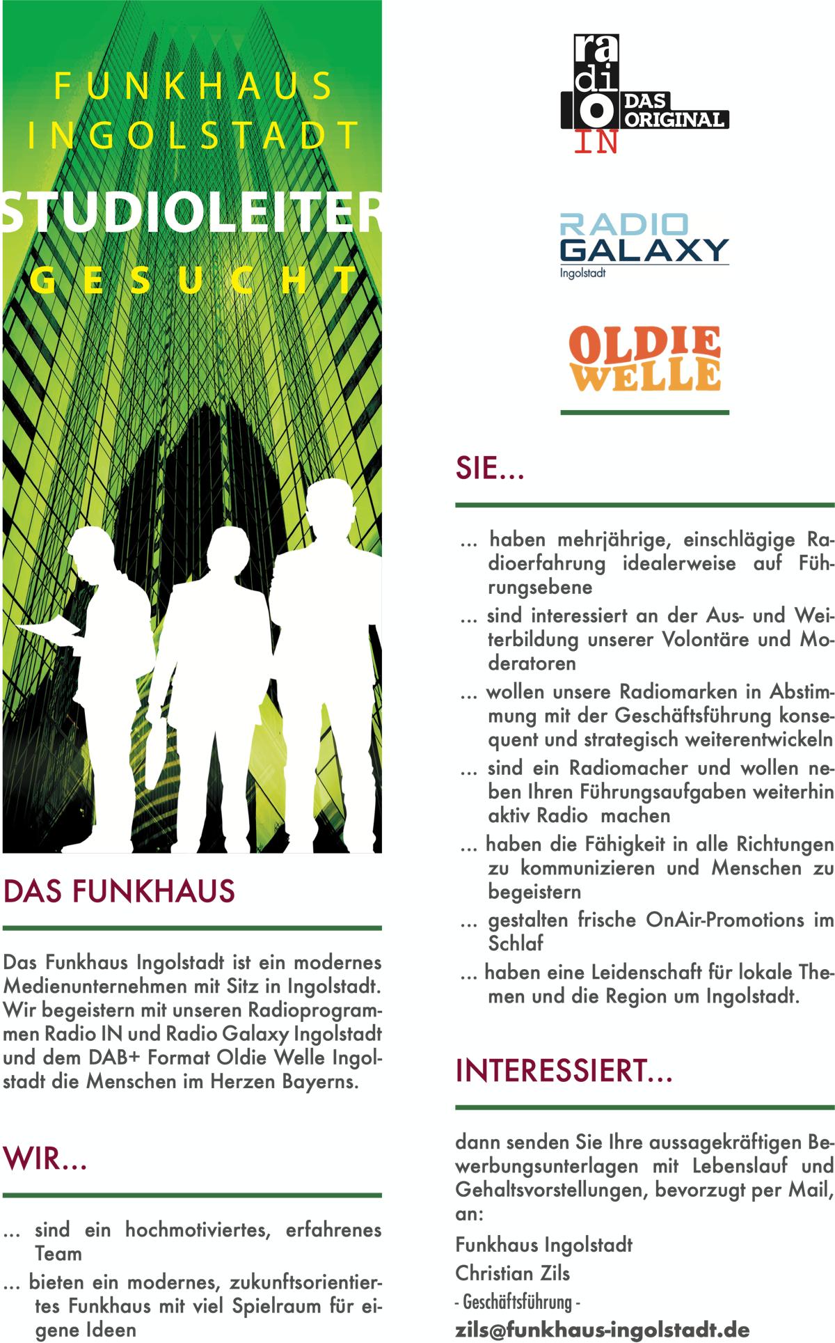 Funkhaus Ingolstadt sucht einen Studioleiter (m/w/d)