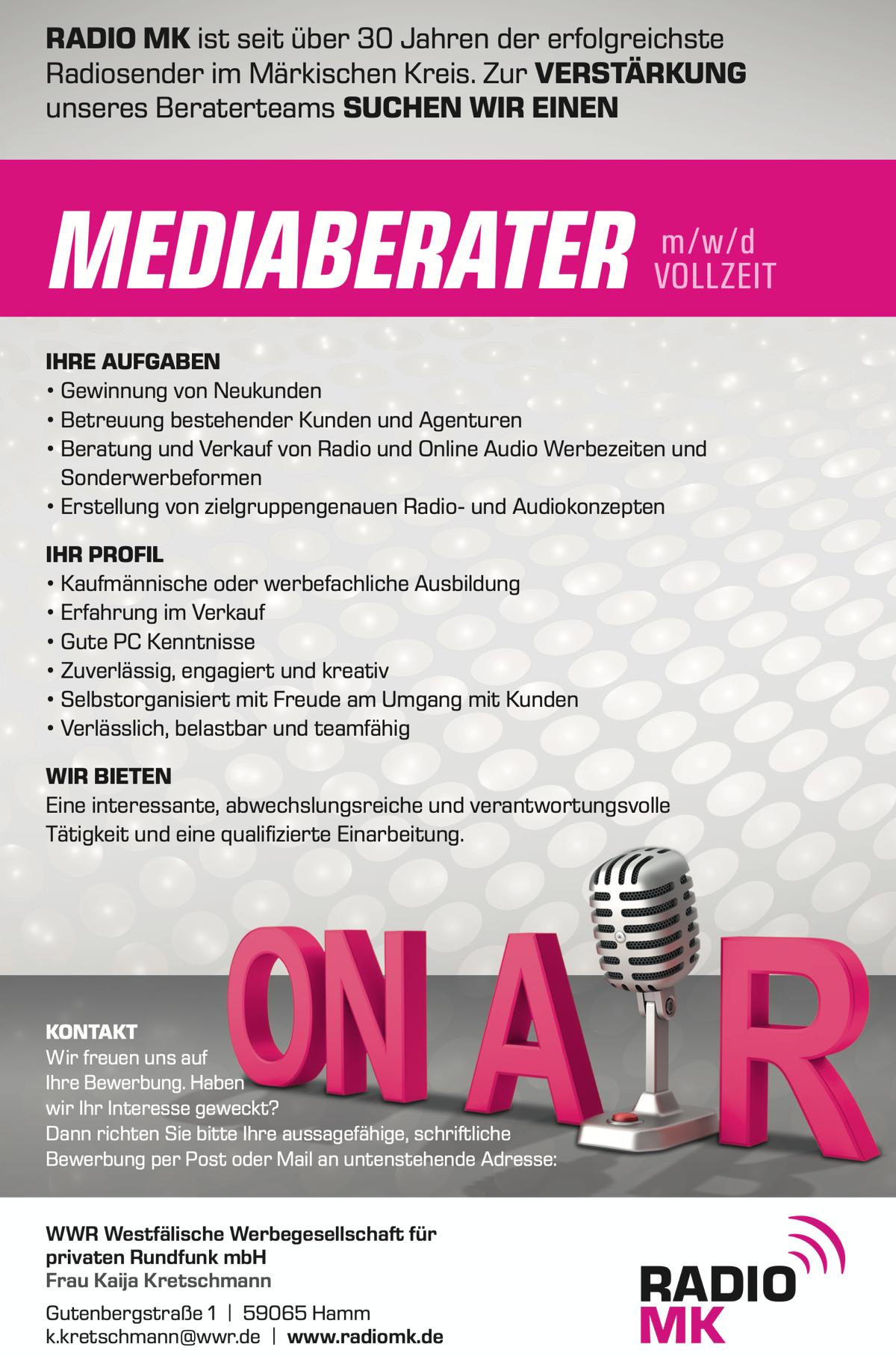 RADIO MK sucht Mediaberater (m/w/d) in Vollzeit