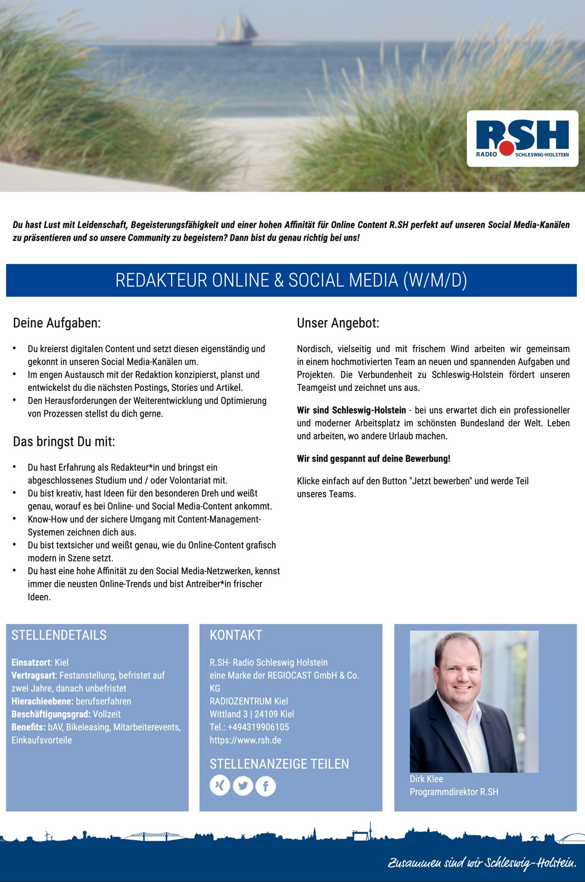 R.SH sucht Redakteur Online & Social Media (m/w/d)