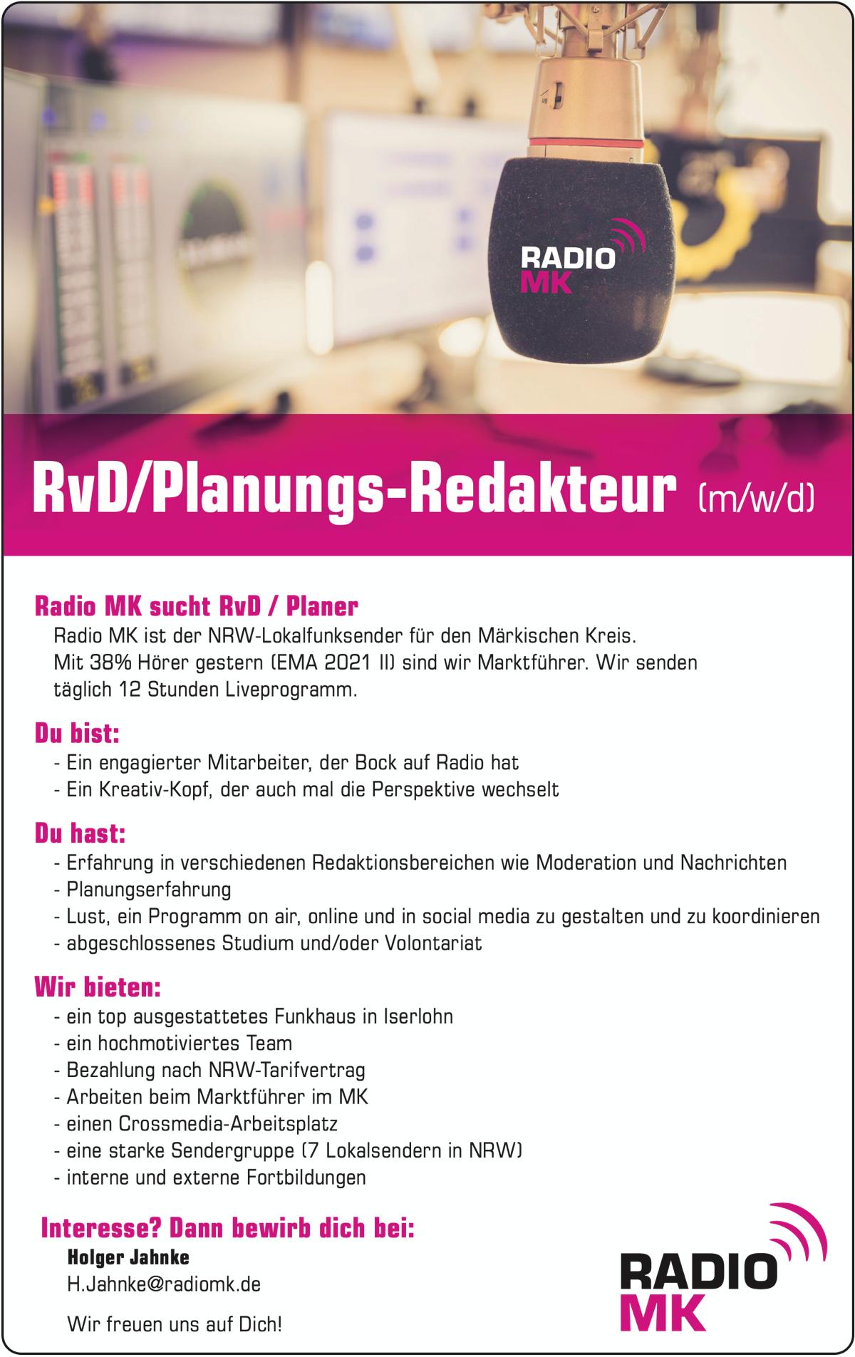 RADIO MK sucht RvD/Planungs-Redakteur (m/w/d)