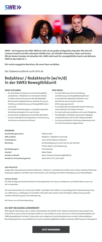 SWR3 sucht Redakteur/in (w/m/d) in der SWR3 Bewegbildtunit