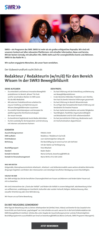 SWR3 sucht Redakteur/in (w/m/d) für Bereich Wissen in der SWR3 Bewegtbildunit