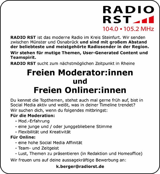 RADIO RST sucht Freie Moderator:innen und Freie Onliner:innen
