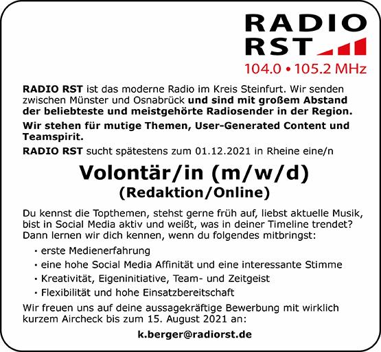 RADIO RST sucht Volontär/in (m/w/d) (Redaktion / Online)