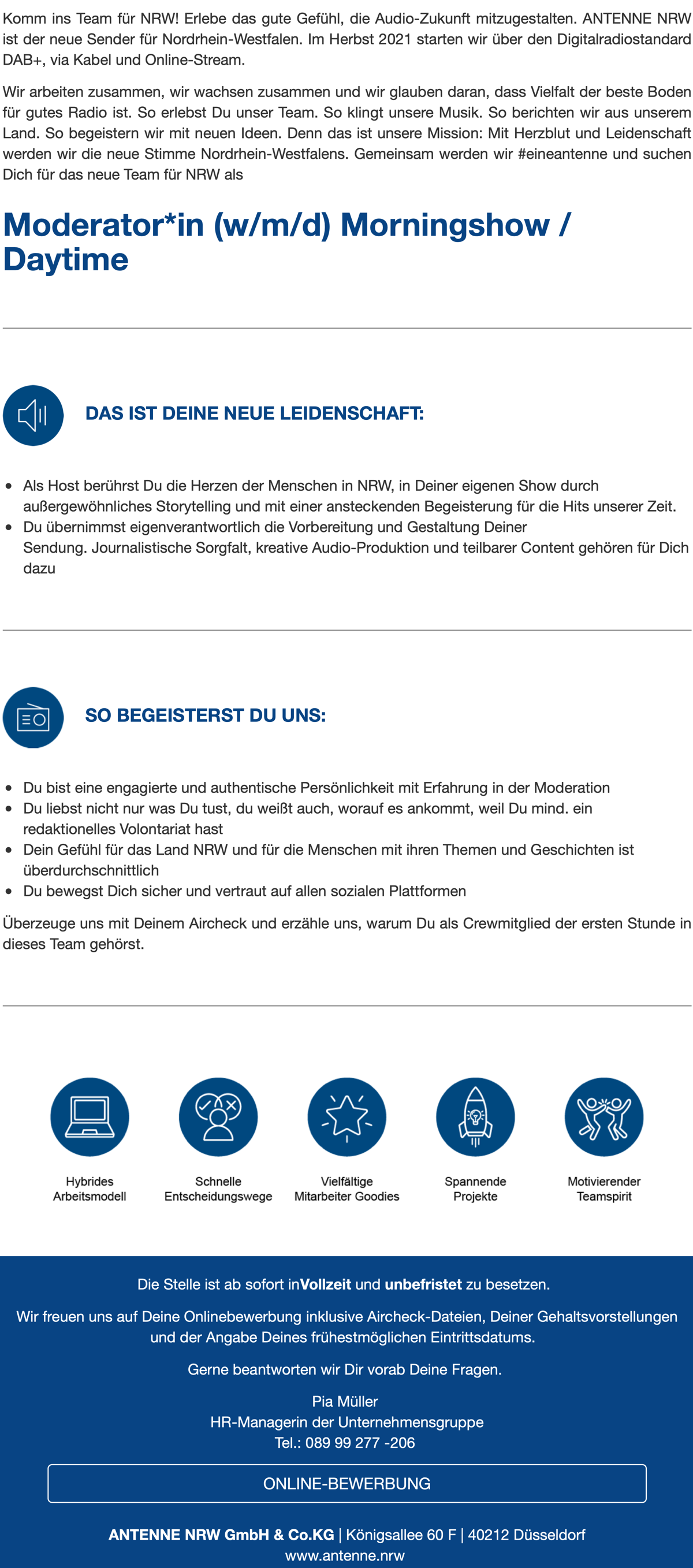 ANTENNE NRW sucht Moderator*in (w/m/d) Morningshow / Daytime
