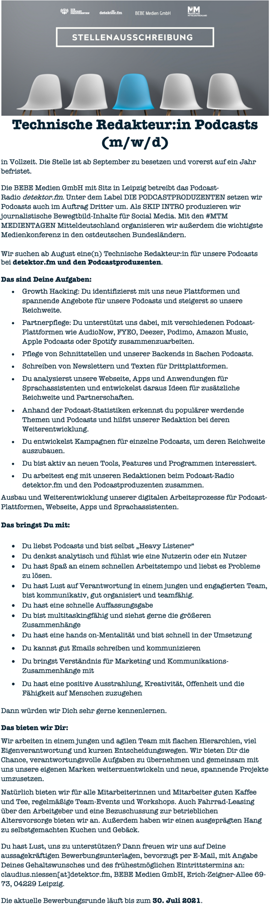detektor.fm sucht Technische Redakteur:in Podcasts (m/w/d)