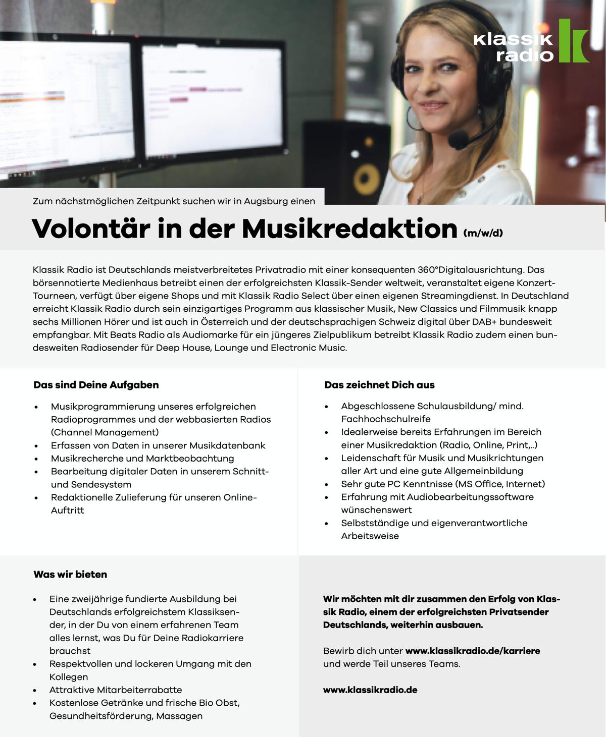 Klassik Radio sucht Volontär in der Musikredaktion (m/w/d)