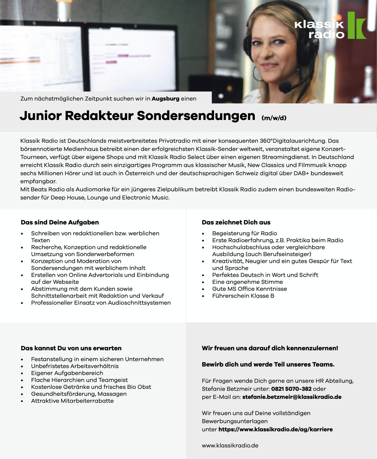 Klassik Radio sucht Junior Redakteur Sondersendungen (m/w/d)