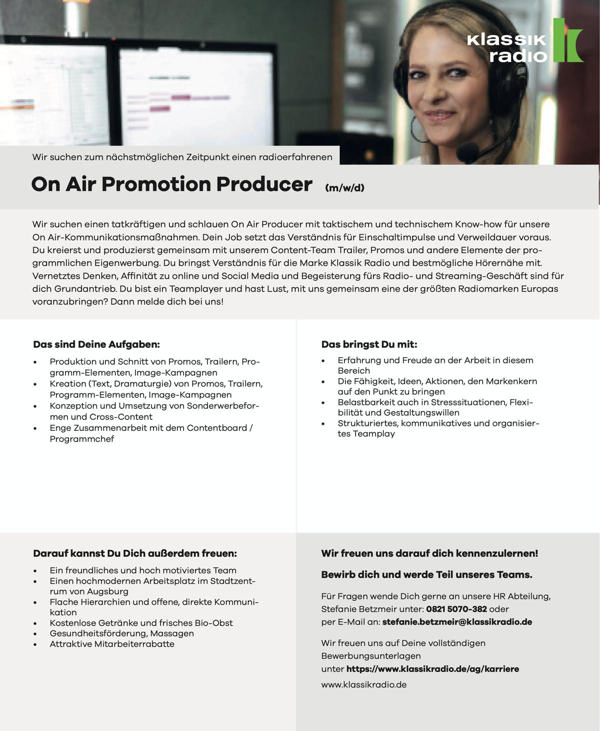 Klassik Radio sucht On Air Promotion Producer (m/w/d)