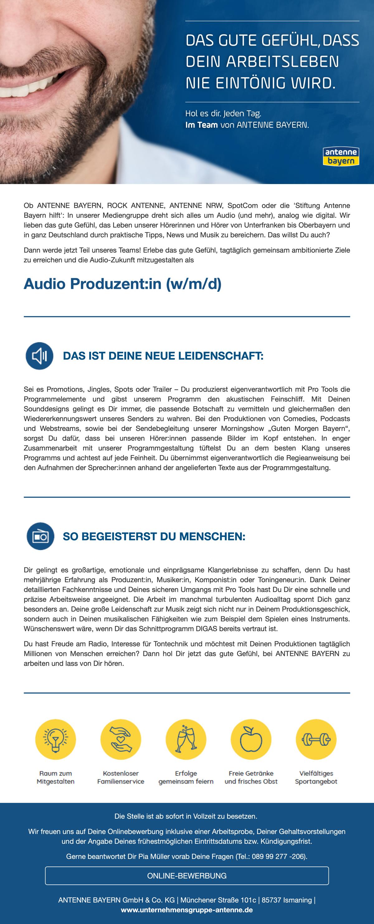 ANTENNE BAYERN sucht Audio Produzent:in (w/m/d)