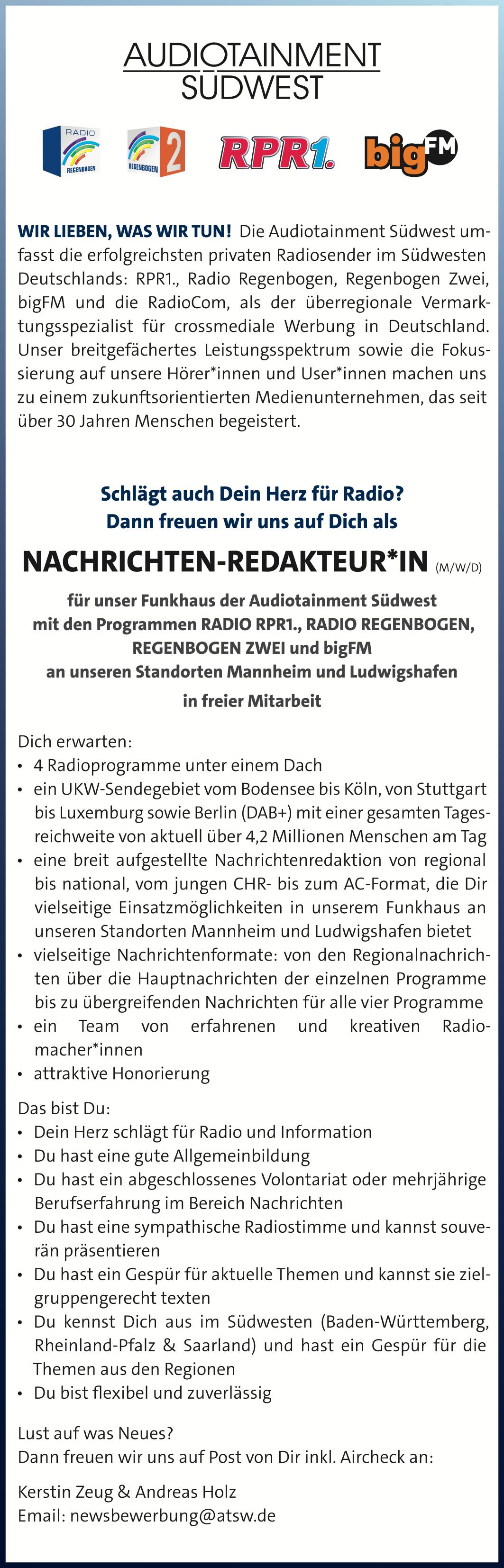 Audiotainment Südwest sucht Nachrichten-Redakteur*in (m/w/d)