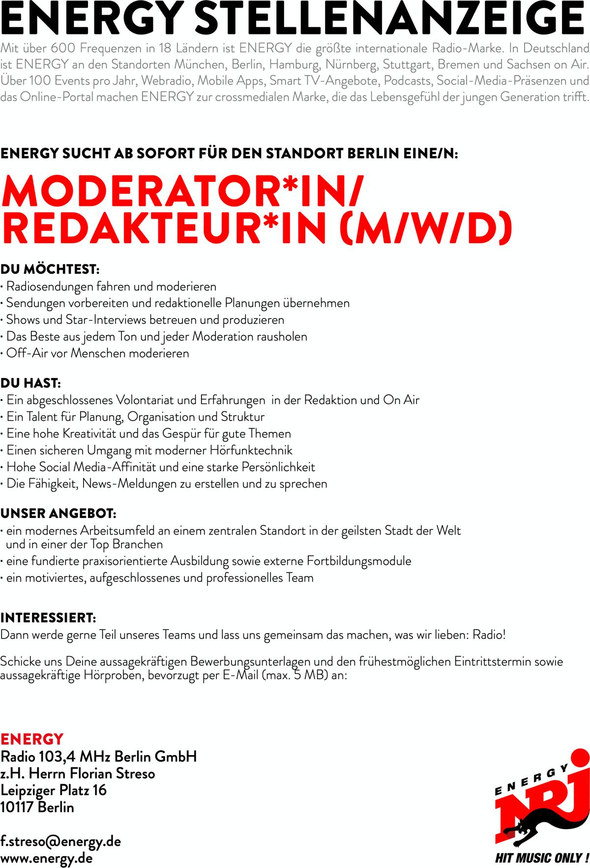 ENERGY Berlin sucht Moderator*in/Redakteur*in (m/w/d)