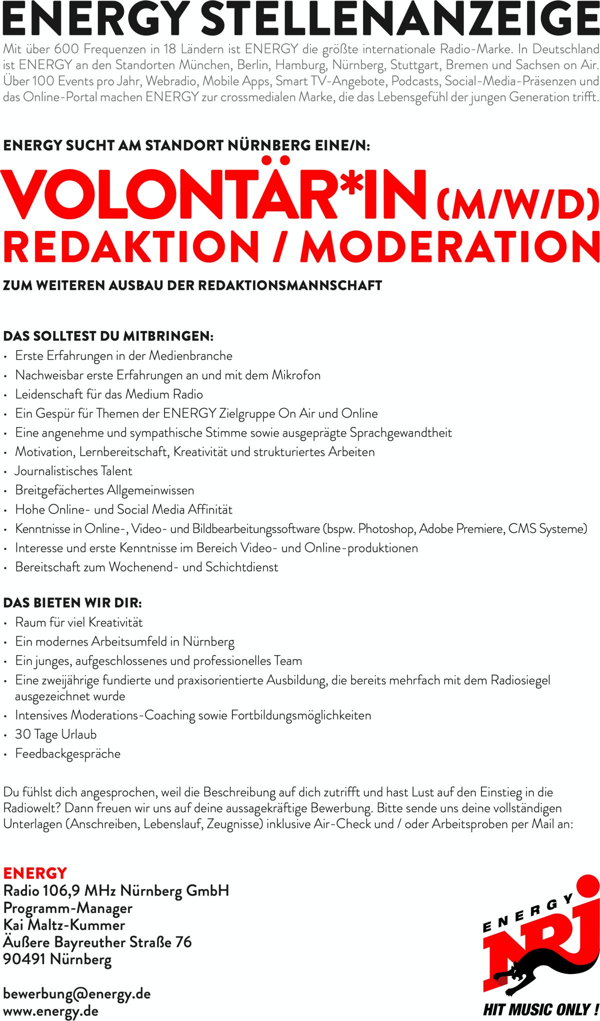 ENERGY Nürnberg sucht Volontär*in (m/w/d) Redaktion/Moderation