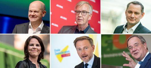 Olaf Scholz (SPD), Dr. Dietmar Bartsch (DIE LINKE), Tino Chrupalla (AfD), Annalena Baerbock (B†NDNIS 90/DIE GR†NEN), Christian Lindner (FDP) und Armin Laschet (CDU). (Bild: @dpa)