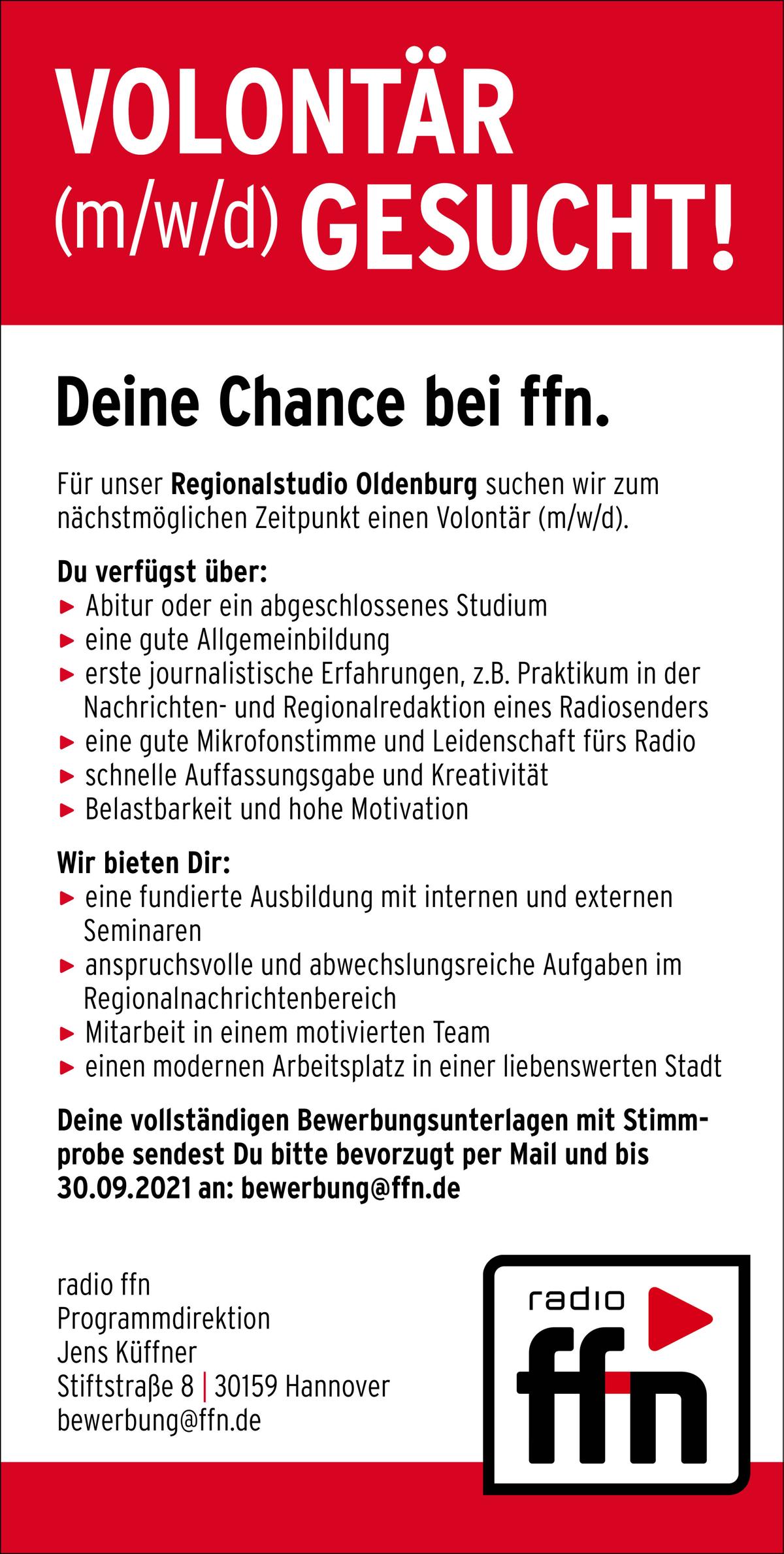 radio ffn sucht Volontär (m/w/d) für Regionalstudio Oldenburg