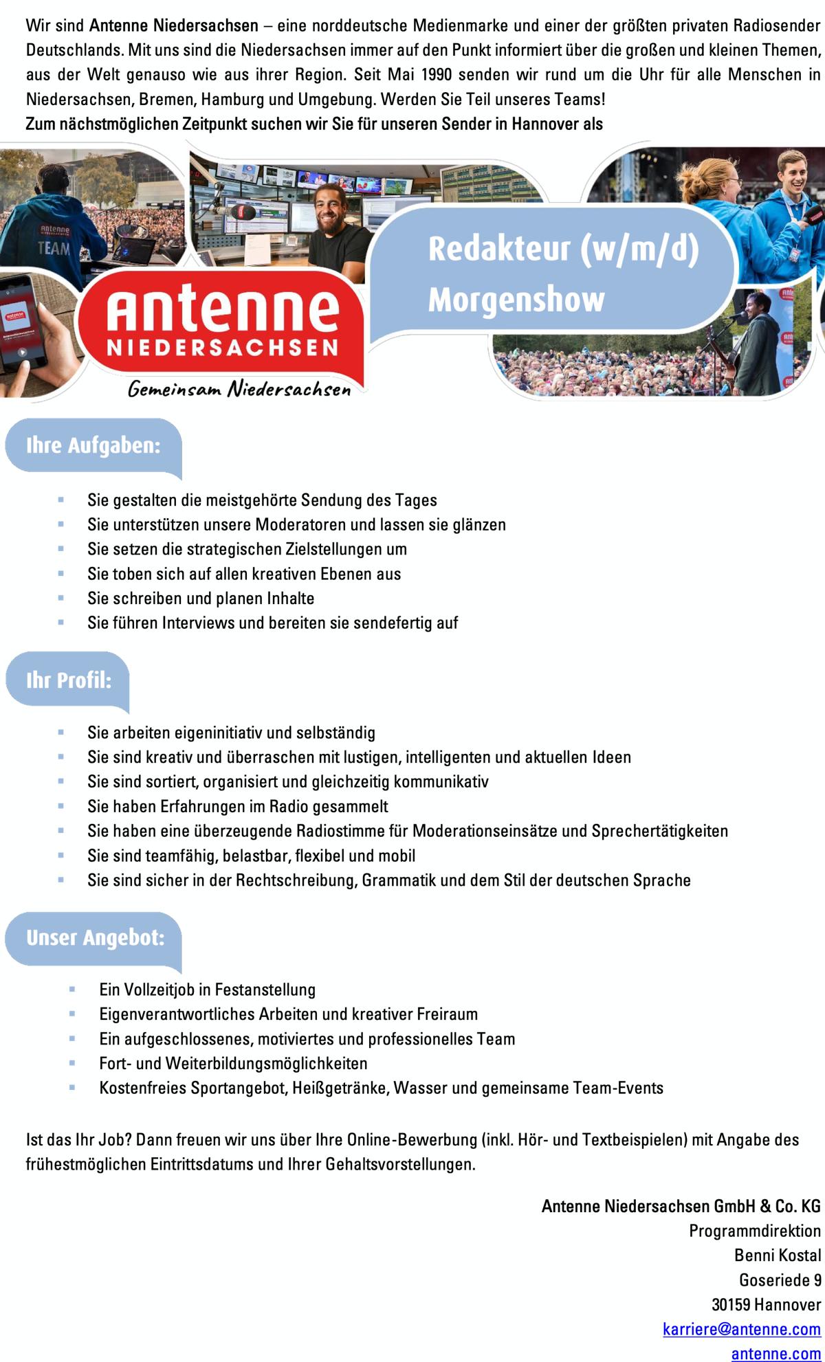 Antenne Niedersachsen sucht Redakteur (w/m/d) Morgenshow