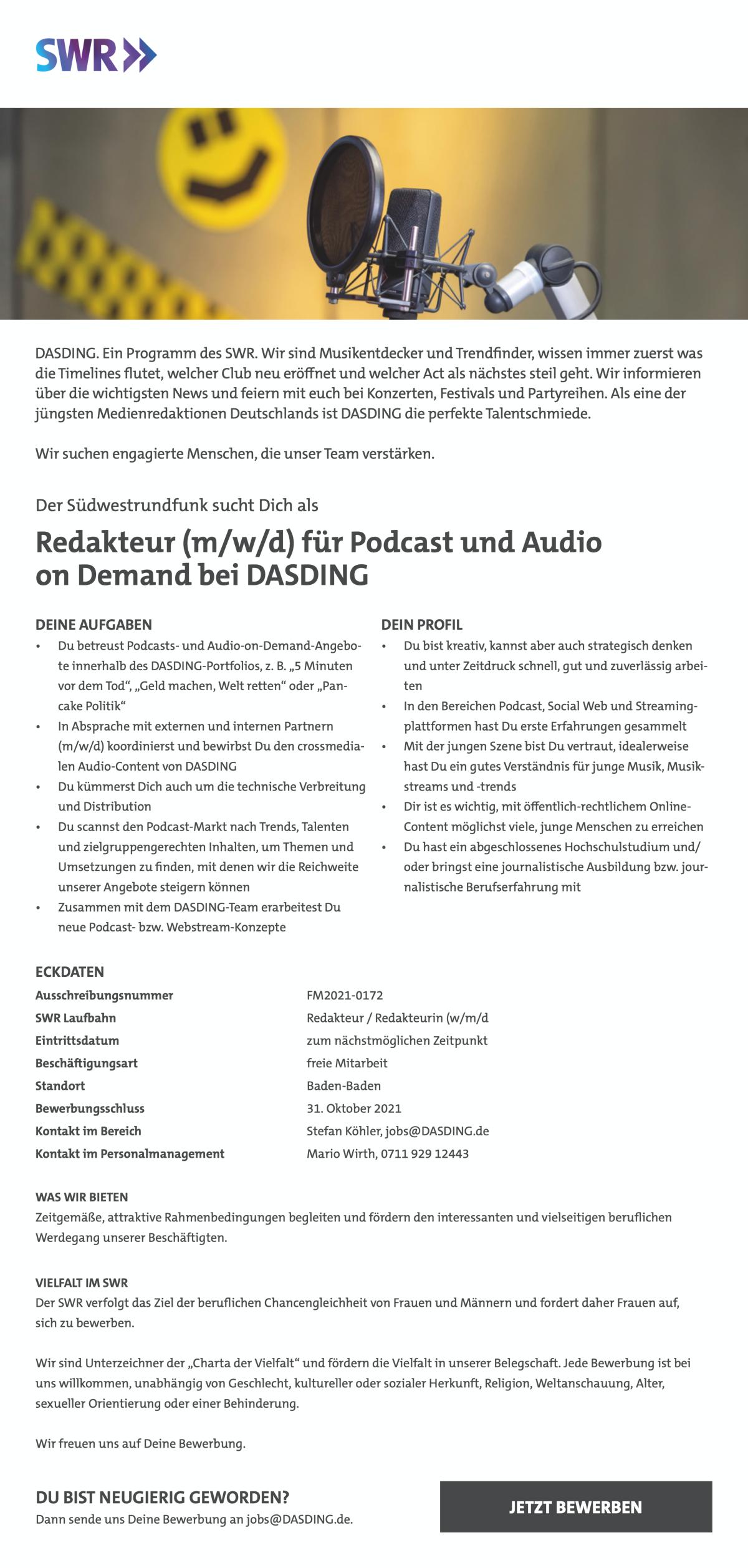 Der Südwestrundfunk sucht Dich als Redakteur (m/w/d) für Podcast und Audio on Demand bei DASDING