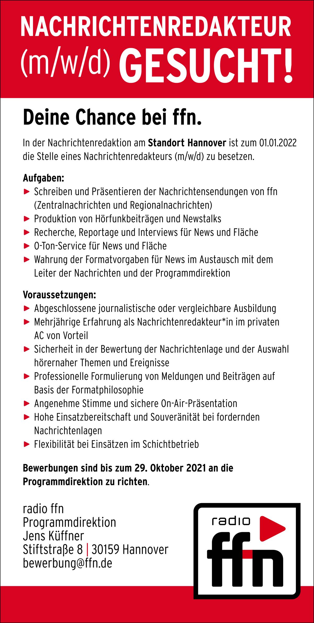radio ffn sucht Nachrichtenredakteur (m/w/d)